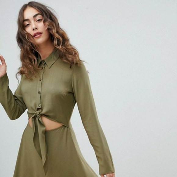 3cdadc4003bc Olive green tie front dress. NWT. ASOS
